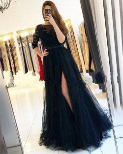 Fashion Abendkleider Lang Schwarz | Abiballkleider Mit Ärmel