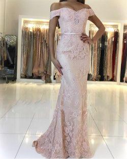 Rosa Abendkleid Spitze | Lange Abendkleider Günstig Online