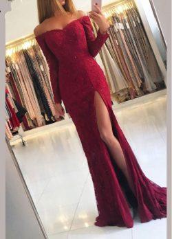 Fashion Abendkleider Spitze Mit Ärmel | Rotes Abendkleid Lang Günstig