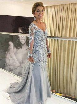 Silber Abendkleider Brautmutter | Brautmutterkleider mit Ärmel Spitze