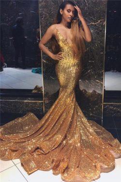 Elegante Abendkleider Lang mit Glitzer | Abendkleid Gold Online