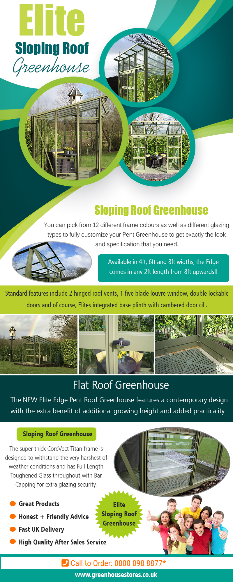Elite Sloping Roof Greenhouse