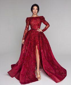 Luxus Abendkleider Mit Ärmel | Spitze Abiballkleider Lang Rot