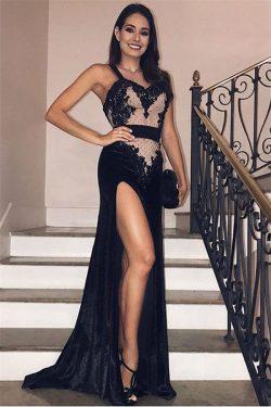 Elegante Abendkleider Lang Schwarz | Abendmoden mit Spitze Online