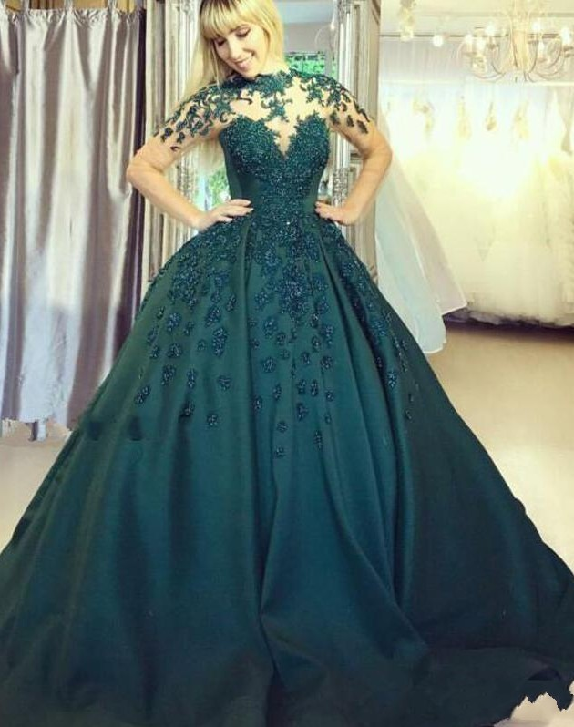 Elegante Abendkleider Lang Grün   Abiballkleider Bodenlang Online