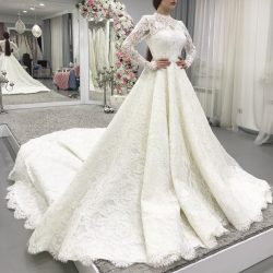 Modern Spitze Brautkleider mit Ärmel | Hochzeitskleider A Linie