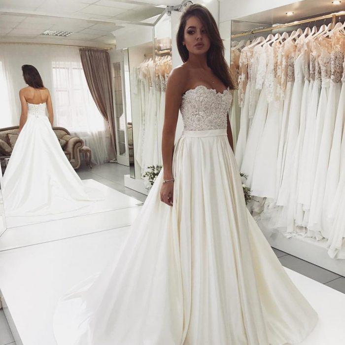 Designer Brautkleider A Linie   Hochzeitskleider Mit Spitze
