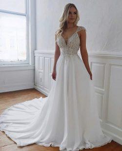 Fashion Brautkleider Lang Chiffon | Hochzeitskleider Mit Spitze