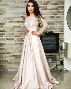 Fashion Abendkleider Lang Rosa | Abendmoden mit Spitze Ärmel