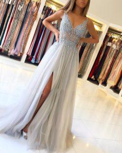 Elegante Silber Abendkleider Online | Abiballkleider Etuikleider Online