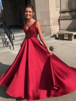 Elegante Abendkleider Lang Rot | Abendmoden Abiballkleider Online
