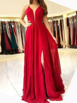 Designer Abendkleider Lang Rot | Festliche Kleidung Chiffon