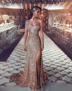 Luxus Abendkleid Gold Lang Pailletten Abiballkleider Abendmoden Online