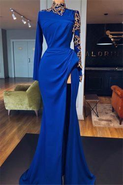 Elegante Abendkleider Mit Ärmel | Abiballkleider Blau Online