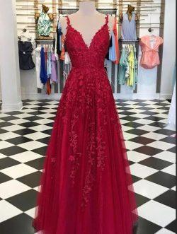 Abendkleider Lang Rot Spitze | Abendmode Günstig Online Kaufen