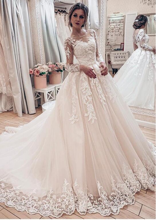 Fashion Brautkleider A Linie Mit Ärmel   Hochzeitskleider Günstig Online