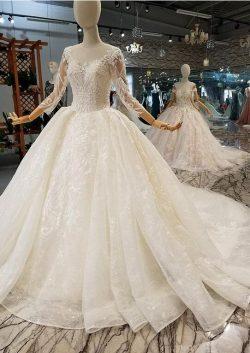 Luxus Brautkleider Mit Ärmel | A Linie Hochzeitskleider Mit Spitze