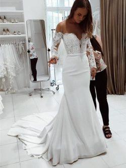 Fashion Brautkleider Mit Ärmel Spitze | Hochzeitskleider Meerjungfrau Online