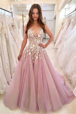 Rosa Abendkleider Lang V Ausschnitt | Abiballkleider Mit Spitze