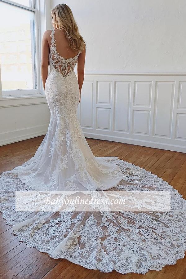 Designer Brautkleid Meerjungfrau | Rückenfrei Hochzeitskleider Mit Spitze