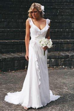 Schlichte Brautkleider Lang Chiffon | Träger Etuikleider Günstig Online