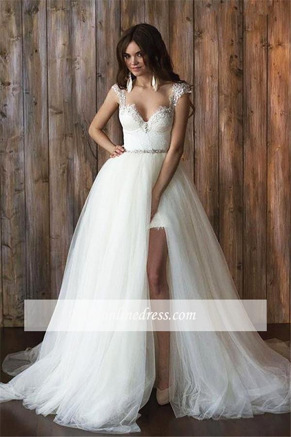 2 Teiler Brautkleider Spitze Günstig Träger Tüll Brautmoden Hochzeitskleider