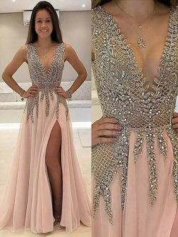 A-Line/Princess V-neck Sleeveless Beading Sweep/Brush Train Tulle Dresses#PO16033PO1034