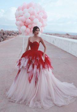 Fashion Rote Brautkleider Prinzessin | Hochzeitskleider Günstig Online