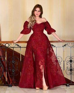 Designer Abendkleider Mit Ärmel | Rote Abiballkleider Mit Spitze