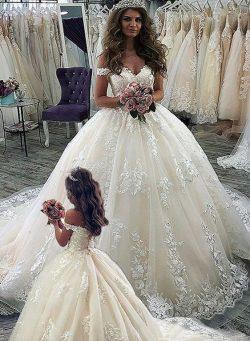 Elegante Brautkleider Prinzessin | Spitze Hochzeitkleider Online
