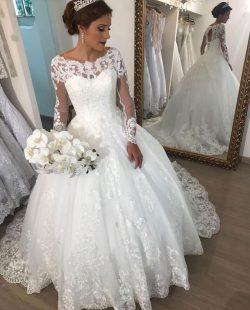 Elegante Brautkleider mit Ärmel | Spitze Hochzeitskleider Prinzessin