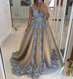 Modern Abendkleid Blau | A Linie Abendmoden mit Spitze online