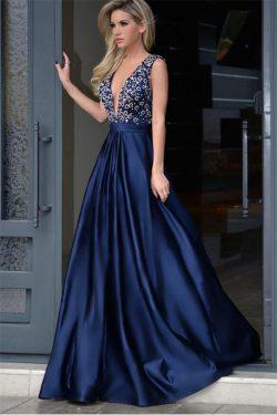 Blaue Abendkleider Lang v Ausschnitt | Abendmoden Rückenfrei Online