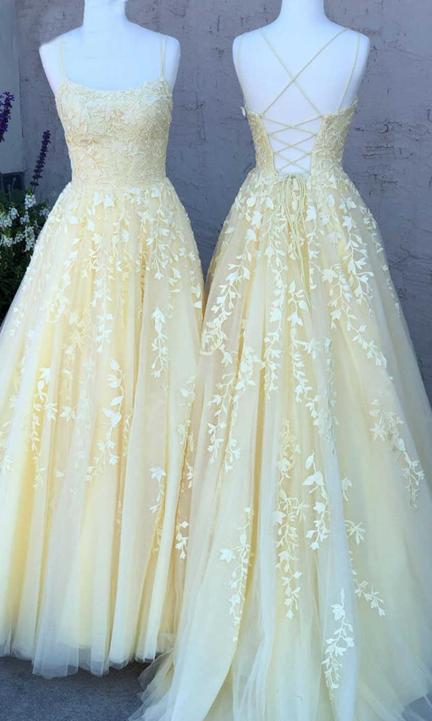 Light Yellow Prom Dresses Strings with Straps KSP10 - £10.10