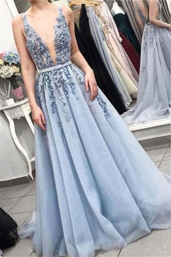 Elegante Abendkleider Lang V Ausschnitt mit Spitze Online ...