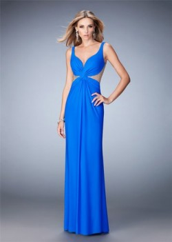 2016 Blue V neck Beaded Illusion Evening Dress [011801] – $178.00 : www.thedresses2014.com