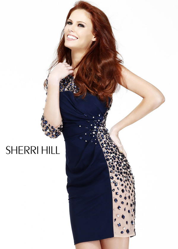 Sexy Navy Short Beaded Illusion One Shoulder Party Dress [Sherri Hill 11037] – $200.00 : H ...