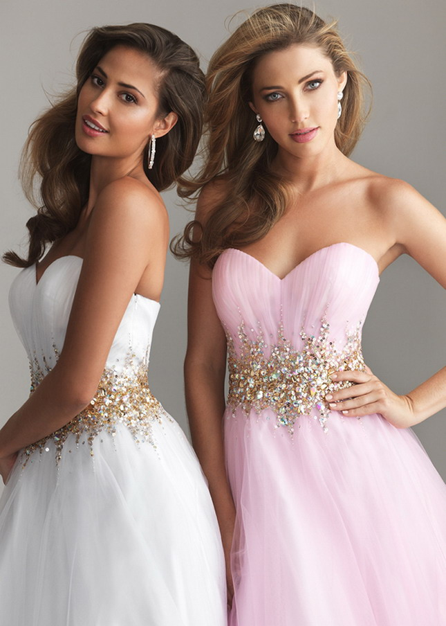White Long Sequin Beading Waist Night Moves style6618 Wedding Gown [Night Moves 6618 White] &#82 ...