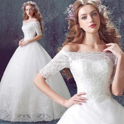 Luxury Lace Strapless Long-sleeved Wedding Dress Floor-Length 2016 New Custom Made – Weddi ...
