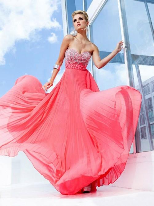 Princess Sweetheart Floor-length Chiffon Dress POWDN14077BN304