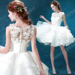 Short/Mini Sweetheart Sleeveless White Bridesmaid dress/ Wedding Dress 2016 New – Wedding  ...