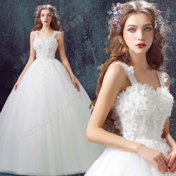 Sweet Princess Bride Diamond Flower Lace tutu 2016 New Custom Made Wedding Dress – Wedding ...