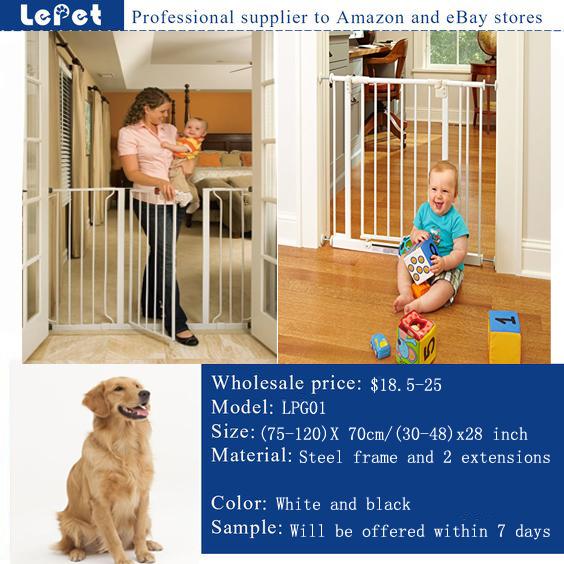 Child Safety Gate Extra Wide Fence Tall Metal Door Walk-Thru Pet Dog Gate Child Safety Barrier