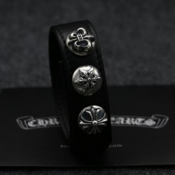 Black Leather CH Logo 925 Silver Embellished Chrome Hearts Bracelets