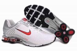 Men's Nike Shox R4 Shoes White/Silver/Red QDTW6O,Shox,Jordans For Sale,Jordans For Cheap,N ...