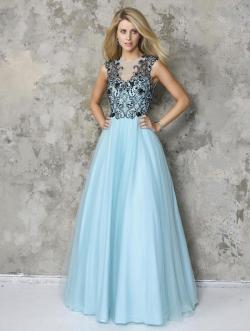 US$140.99 2016 Beads Blue A-line Sleeveless Open Back Tulle Floor Length