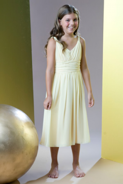 US$96.99 2015 Chiffon V-neck Ruched Sleeveless Tea Length