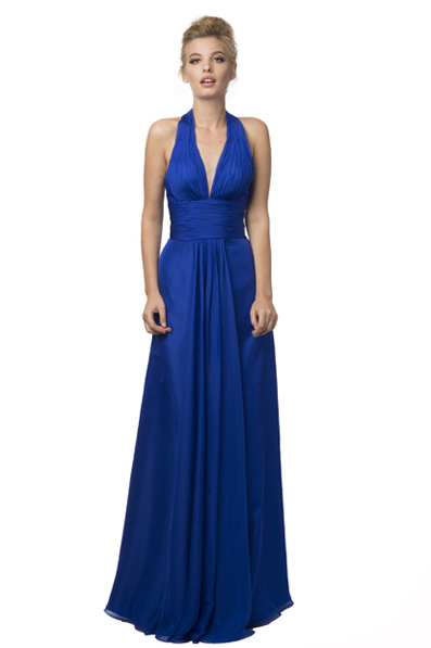 US$167.99 2016 Halter Chiffon Ruched A-line Blue Zipper Sleeveless Floor Length
