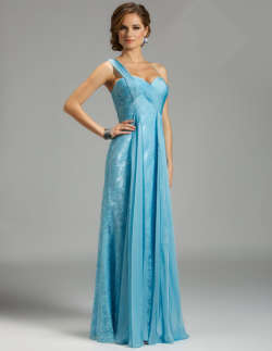 US$178.99 2015 One Shoulder Appliques Blue Chiffon Lace Ruched Floor Length