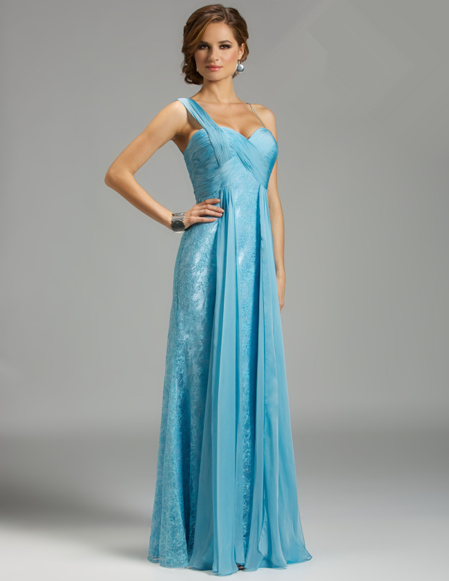 US$178.99 2015 One Shoulder Appliques Blue Chiffon Lace Ruched Floor Length